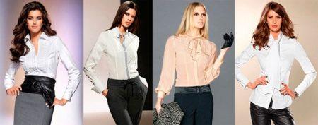 Блузка с воротником в разных стилях