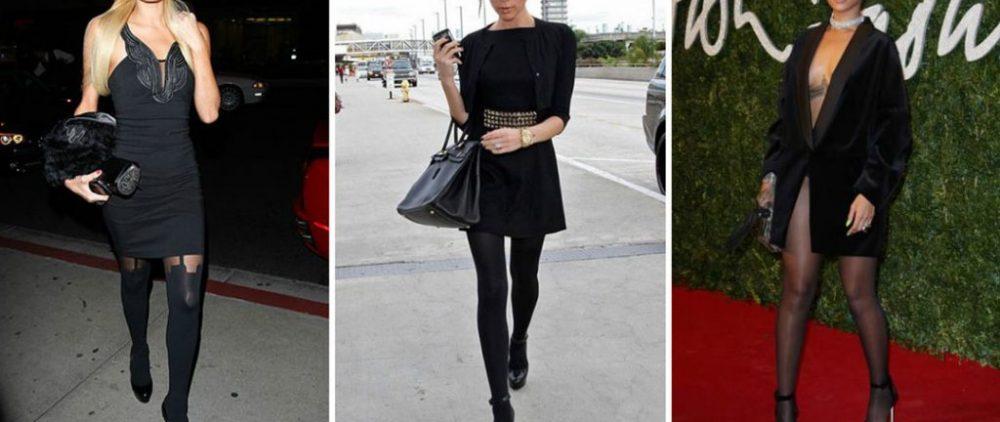 Какие колготки надеть под черное платье и черные туфли?